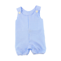 summer cotton baby boy rompers blue and white jumpsuits stripe pattern casual style