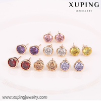 91989 High quality changeable stone ball earrings, low price druzy stud earrings