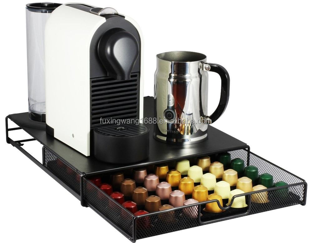 Delightful Coffee Pod Storage Mesh Nespresso Drawer Holder For 56 Capsules, Black