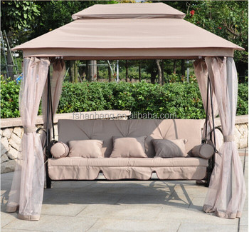 Luxury Two Function Three Seat Outdoor Gazebo Swing Chair Bed with mosquito net & Luxury Two Function Three Seat Outdoor Gazebo Swing Chair Bed With ...