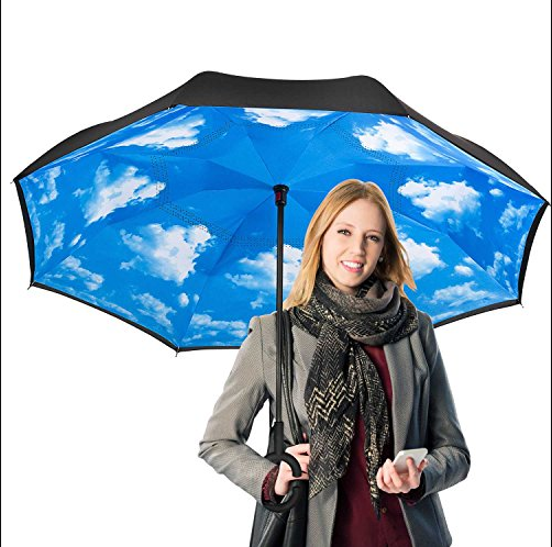 Drop free automatic car window friendly inside out kazbrella inverted reverse umbrella