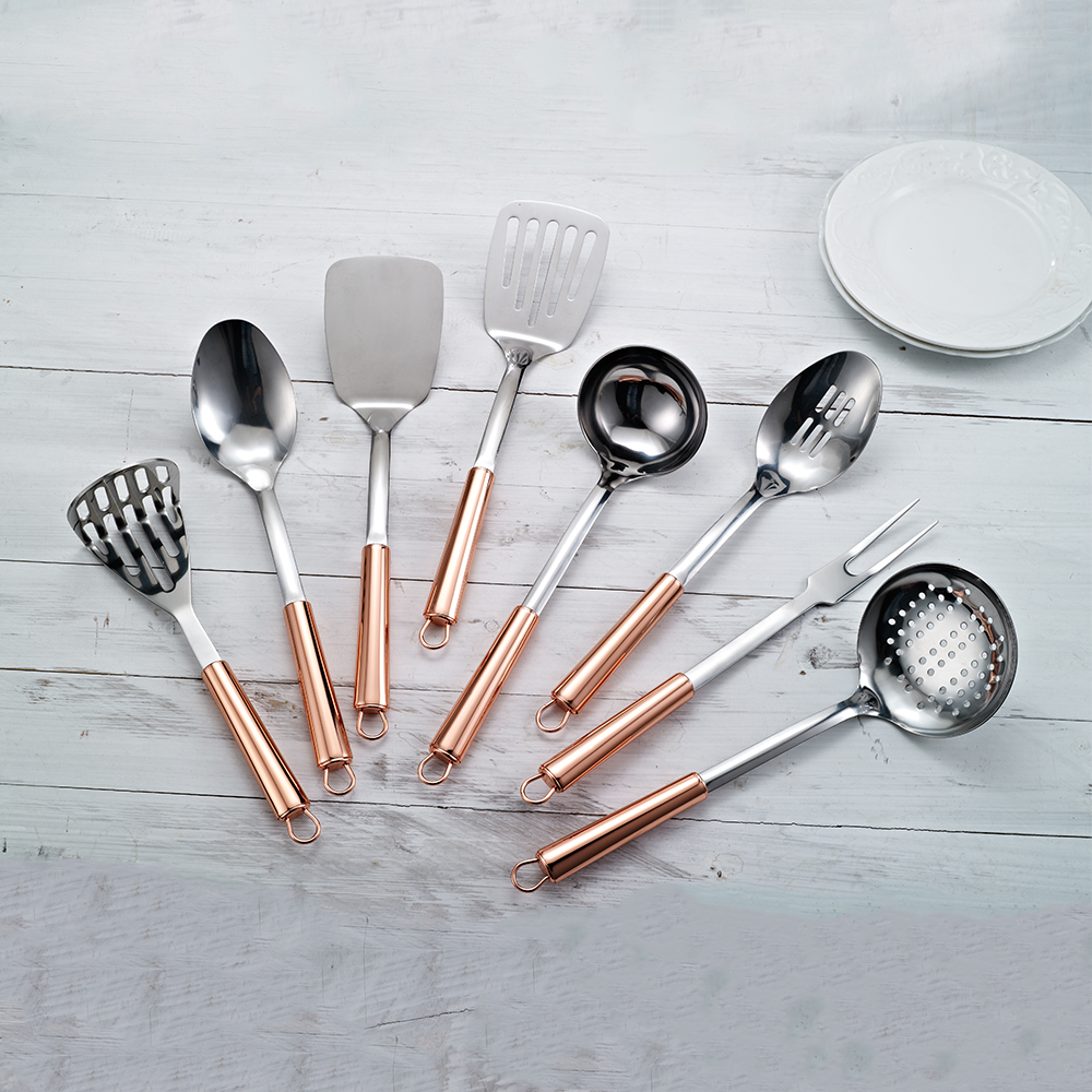 Kitchen Accessories Set Rose Gold Stainless Steel Cooking Tools With Copper Plating Handle