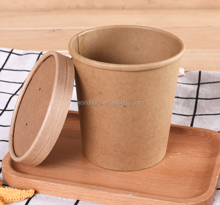 Disposable Craft Paper Soup Cup Food Container with Craft Lid