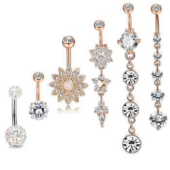6PCS Stainless Steel Belly Button Ring Dangle Navel Rings CZ Inlaid Body Piercing Jewelry