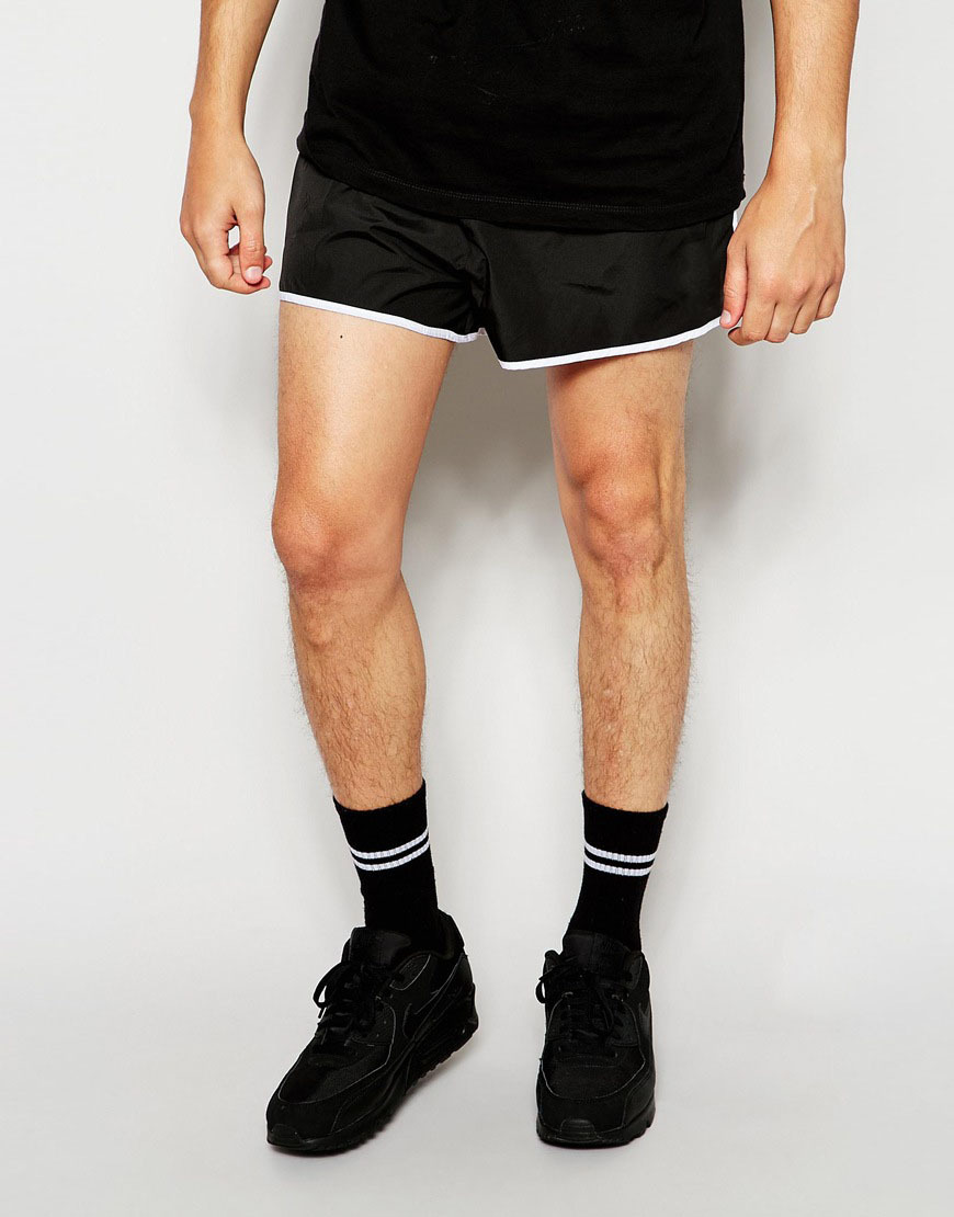 Oem Lightweight Smooth Fabric Black Shorts For Mens With Contrast ...