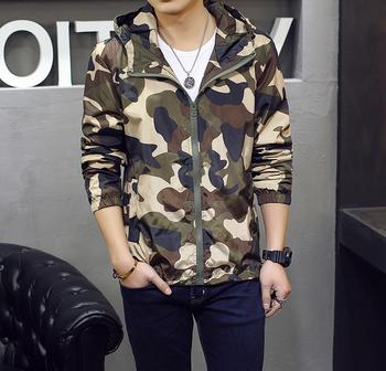X86765A корейский Весна Осень Человек камуфляжная куртка пальто мужские  военные камуфляжные куртки 488687867f4