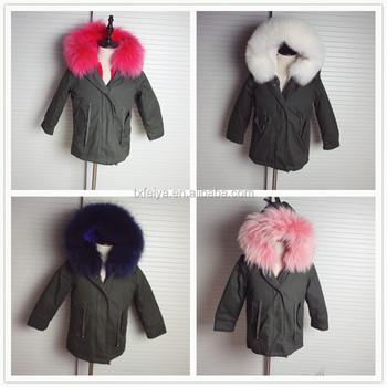 0efe31367946 New Warm Baby Coat Rex Rabbit Fur Lined Kids Khaki Parkas Detachable ...