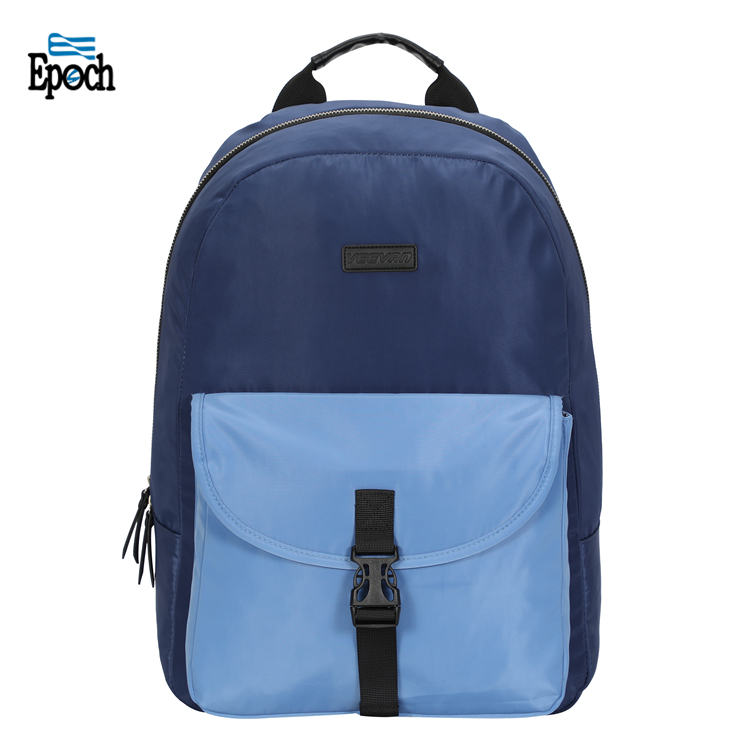 Epoch new design compound cloth blue casual ladies bag with front belt pocket