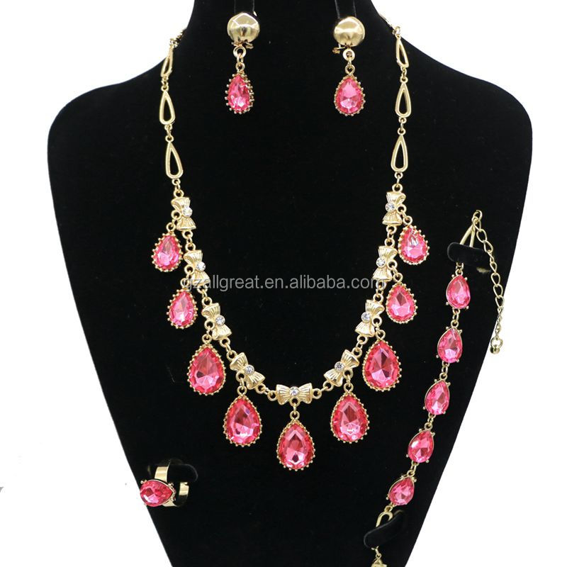 AC621#2 Hot selling luxury gold  crystal necklace earring teardrop jewelry set for women