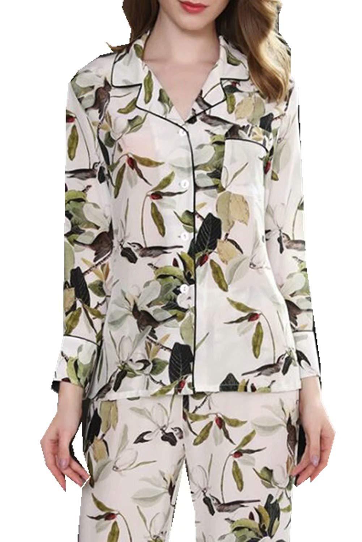 980feb53d8 Get Quotations · ABICO Silk Pajamas for Women Two Piece Set Long Sleeve  Natural Silk Sleepwear Ladies Silk Nightwear