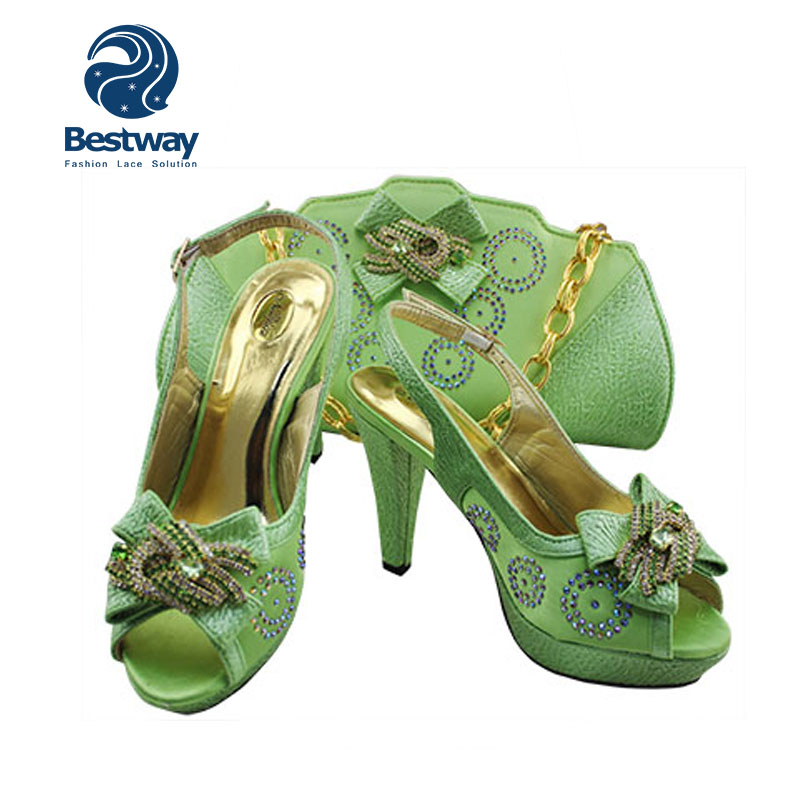 affordable price incredible prices classic Wholesale Low Heels Lemon Green Women Shoes And Bags Party ...