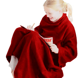 180 x 130cm Brand New purplish red/ Maroon/ date red coral fleece snuggie TV blanket with a pocket
