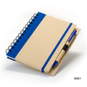 Business Customized Eco Spiral Craft Paper Cover Notebook With Pen