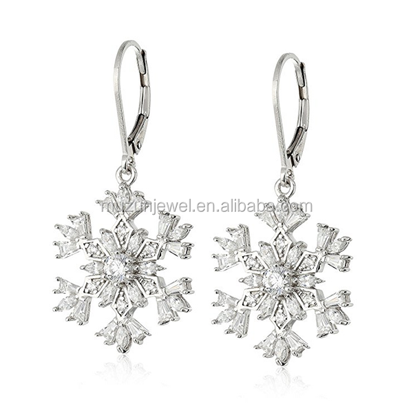 Christmas Gift Snowflake Leverback Earrings 925 Sterling Silver Clip-on Earrings
