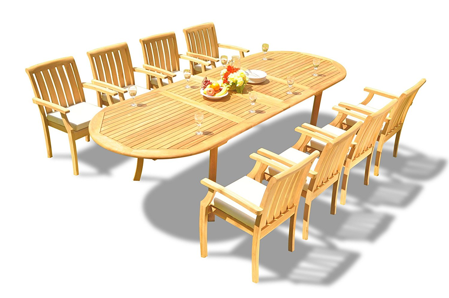 """Grade-A Teak Wood Dining Set 8 Seater 9 Pc: 117"""" Double Extensions Oval Dining Table and 8 Somerset Stacking Arm / Captain Chairs #WFDSSS6"""
