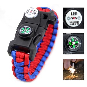 Outdoor survival paracord bracelet with compass fire starter SOS LED light emergency knife whistle for hiking camping hunting