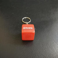 solid red acrylic cube keyring with white printing