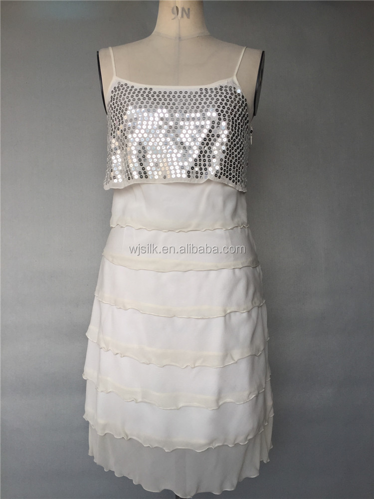 Sequins beads embroidery Silk Georgette Layered Party dress