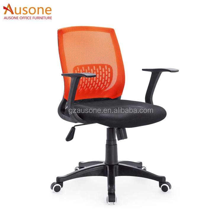 Simple Design Full Mesh Chair Middle Back Orange Office Chair Mesh