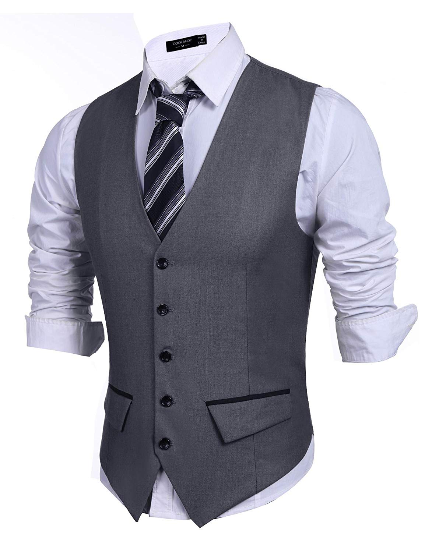 Kaimu Mens Formal Slim Fit Premium Business Dress Suit Button Down Vests