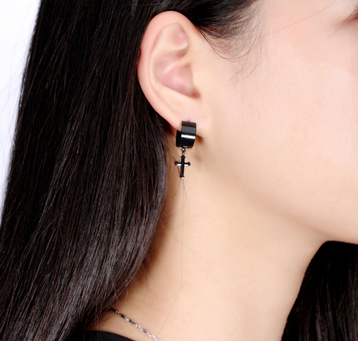 Fashion Jewelry Hot Sell Men S Black Earring Hanging Cross Earrings