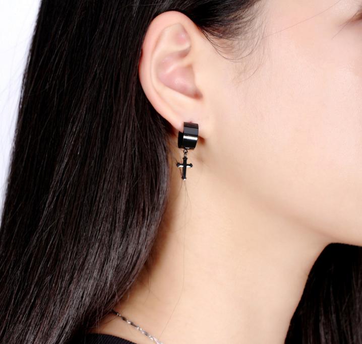 Fashion Jewelry Hot Sell Men S Black Earring Hanging Cross Earrings