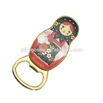 Russia Nesting Doll Moscow Souvenirs Bottle Opener with Magnet Beer Jar Opener with Epoxy Filling Metal Bottle Opener