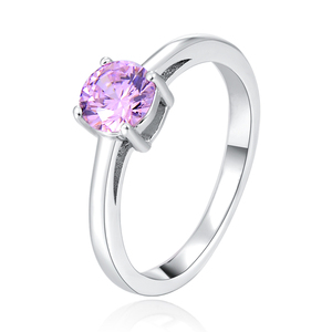 POLIVA Offile Lady 925 Sterling Silver Single Round Pink Gemstone Clear Cubic Zirconia Cz Solitaire Ring for Girls