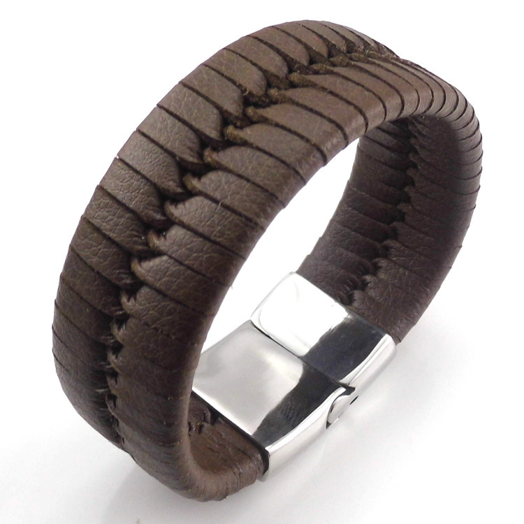 Cool Black Wide Genuine Fashion Bracelet Leather For Men Stainless ...