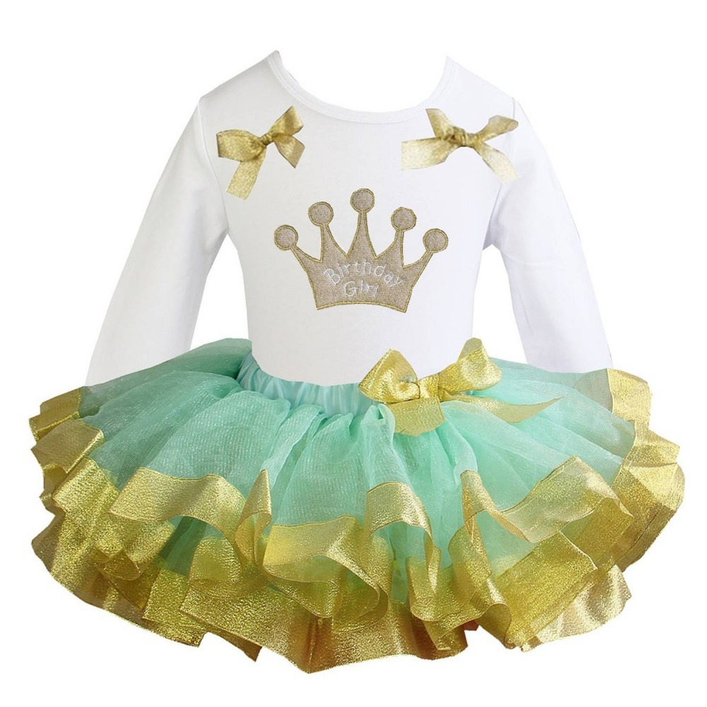 e8cf1a162d19 Get Quotations · Girl Clothes Birthday Girl Crown , I am So Sparkly , One  White Tee Mint Gold