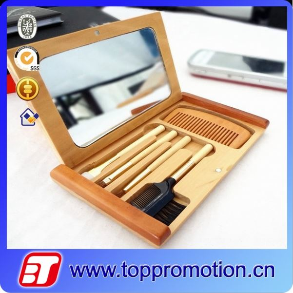 wooden makeup mirror with comb brush set