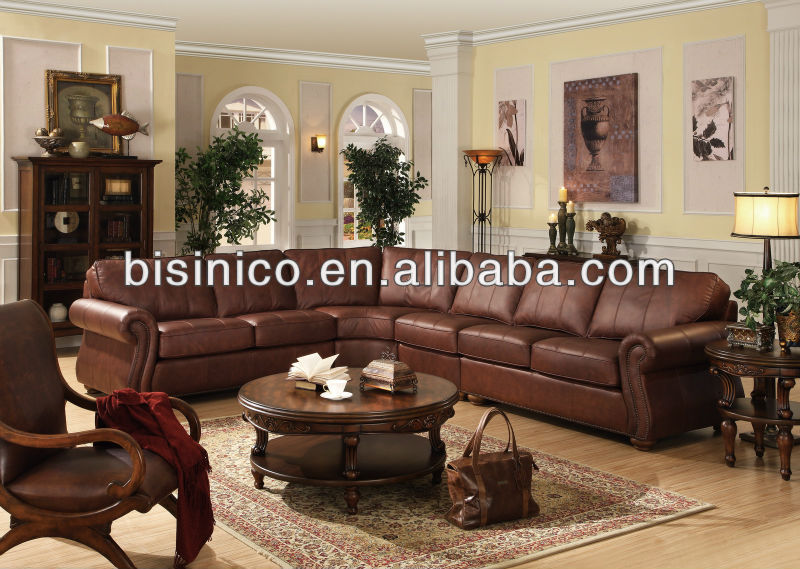American Style Living Room Leather Corner Sofa Genuine Leather Living Room Furniture B14208 View Sofa Set Living Room Furniture Bisini Product
