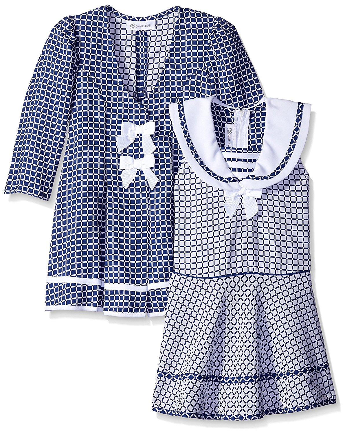 14bad2101 Get Quotations · Bonnie Jean Girls' Check Jacquard Sailor Dress and Coat Set