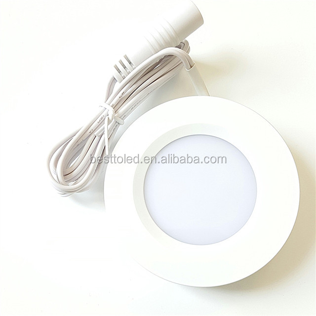 Set of 3 LED Under Cabinet Lighting Kit - 3Watt LED Puck Lights with UL-listed Power Adapter - Warm White - High Quality