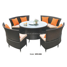 garden furniture outdoor metal rattan round large table and chairs, aluminium outdoor chair HFC-038