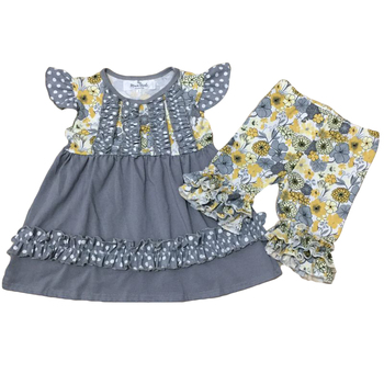 summer girls clothing set cotton baby clothing set wholesale children boutique clothing