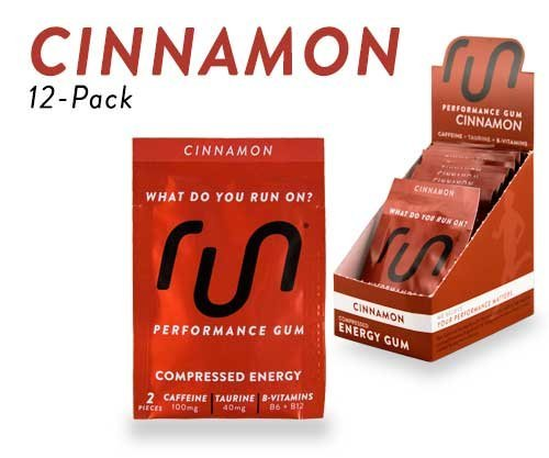 RUN GUM Cinnamon Energy Gum 50mg Caffeine Taurine & B-Vitamins Per Piece, 24 Pieces ( Pack of 12), 2 Pieces = 1 Coffee or Energy Drink, Sugar Free, Zero Calorie
