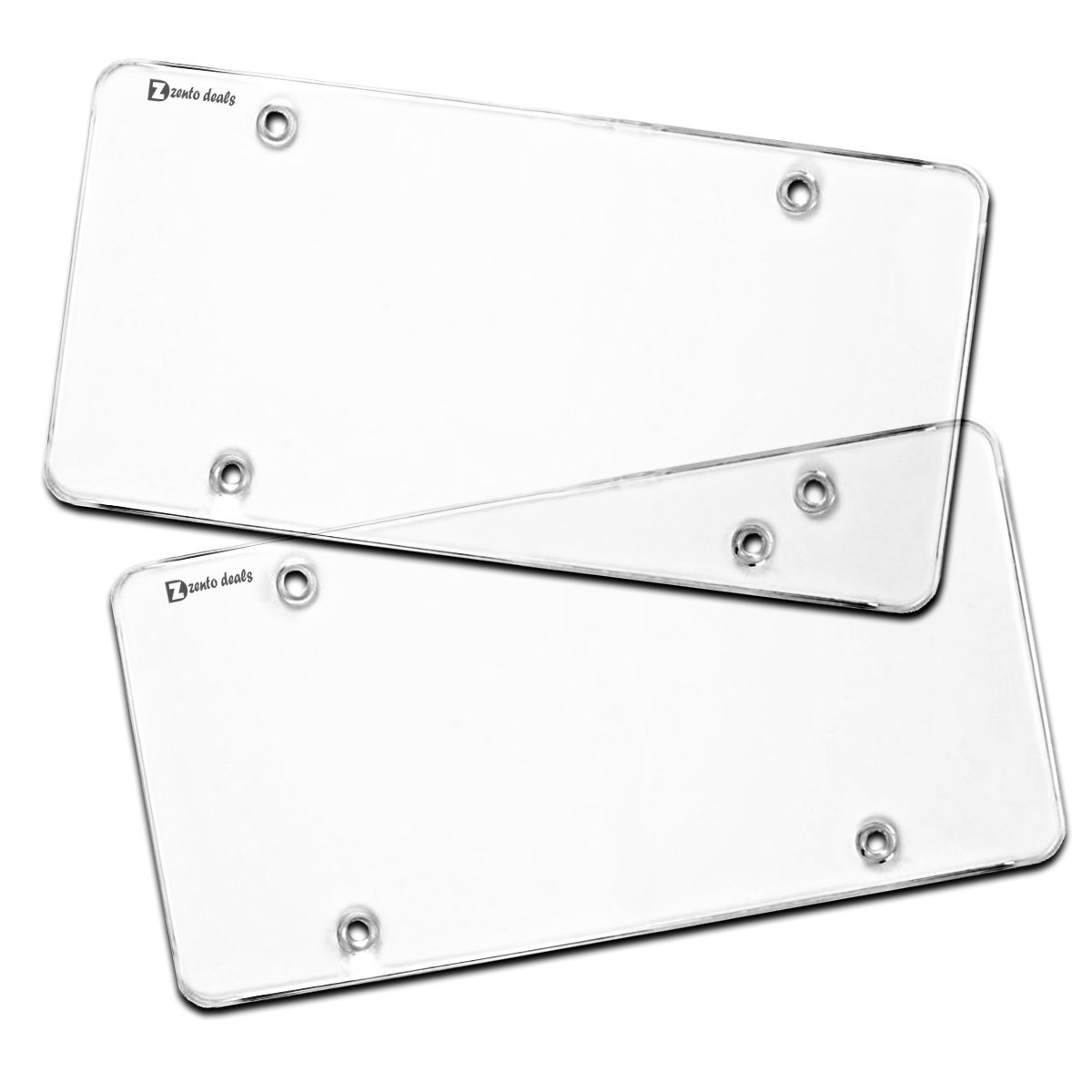 EveryPossible Flat Clear License Plate Cover 2 Pack of Heavy Duty Shields Ubreakable