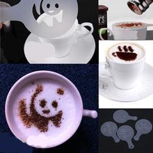 16Pcs/set Fashion Cappuccino Coffee Barista Stencils Template Strew Pad Duster Spray Tools