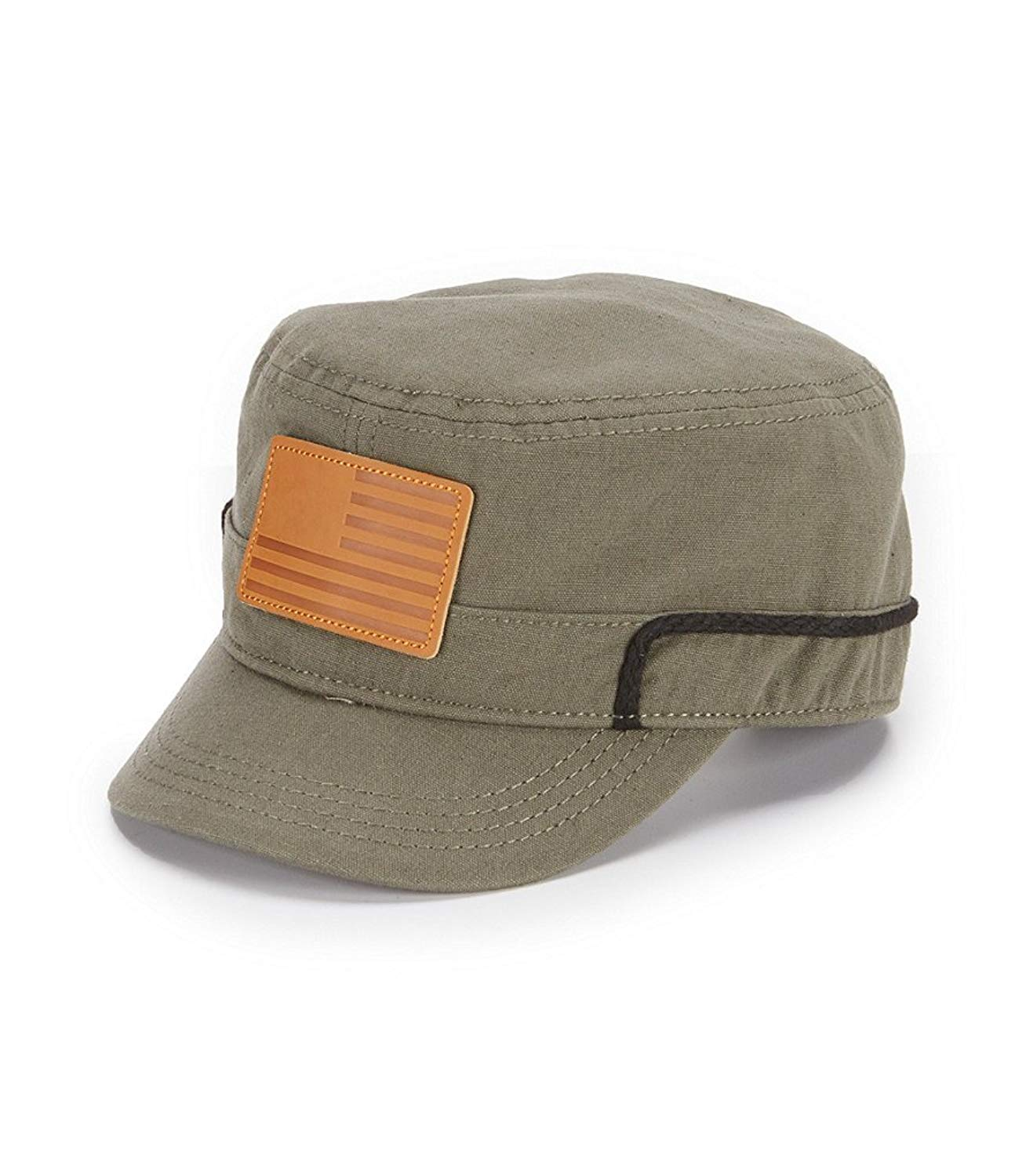 06cbbbbb80404f Get Quotations · Cremieux Men's Military Cap Leather USA Flag Patch Hat Army  Green Medium/Large