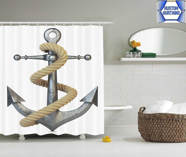 Kustom Kurtains Nautical Marine Anchor Shower Curtain Polyester Fabric No Liner Needed Hooks Included
