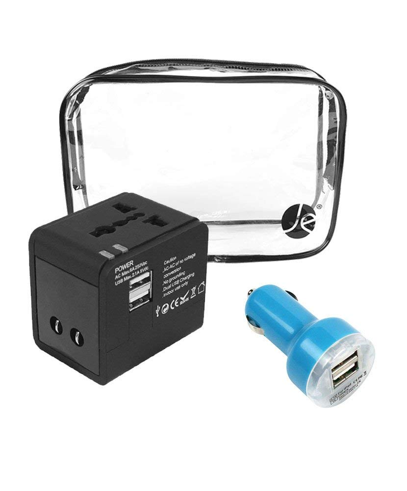 JAVOedge [3 PCS SET], JE All In One International Travel Adapter [USA EU UK AUS] + Blue Car Charger W/2 USB Port for Cell Phones
