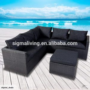 New arrival simple design outdoor furniture rattan 3 seats sectional sofa set