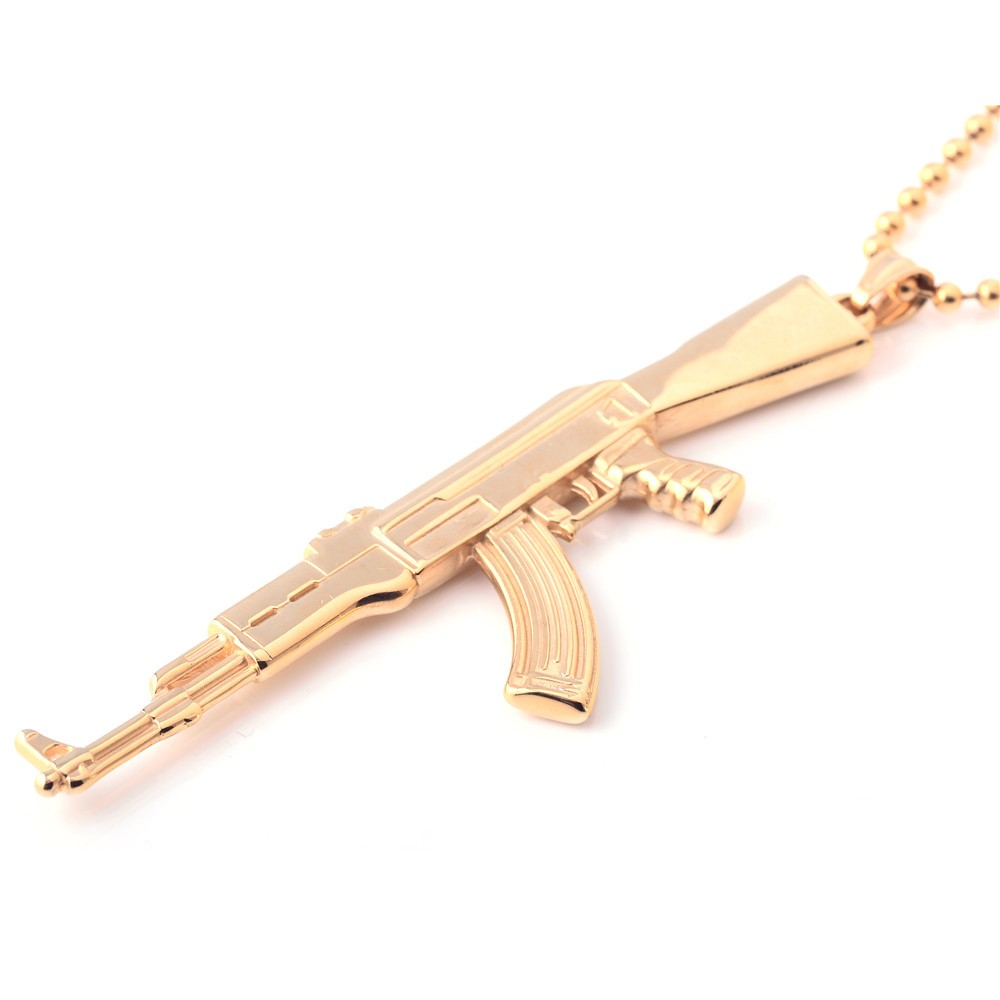 2018 New Design Quality Gold Gun Necklace Custom Logo Pendant Buy Arrival Cocoa Jewelry Gelang Golden Time Silver Color