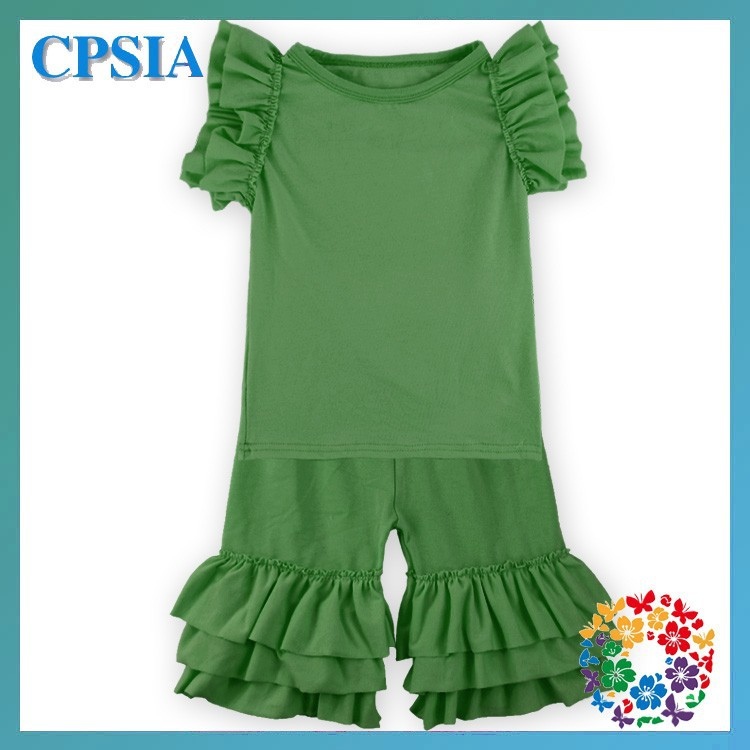 2015 Hottest Sale Kids Clothing Sets Pure Color Baby Girl Clothing Set ,Girls Spring And Summer Outfit Ruffle Set