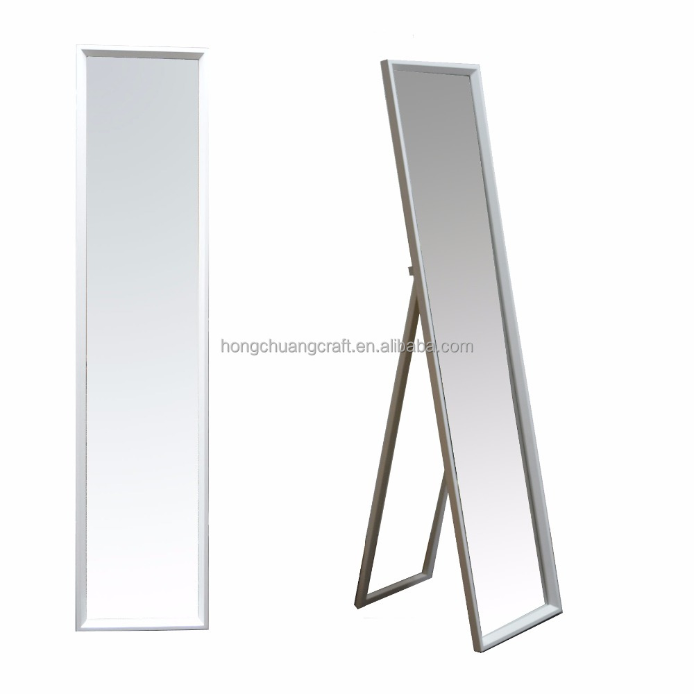White Wooden Dressing Mirror With Stand Easel For Home