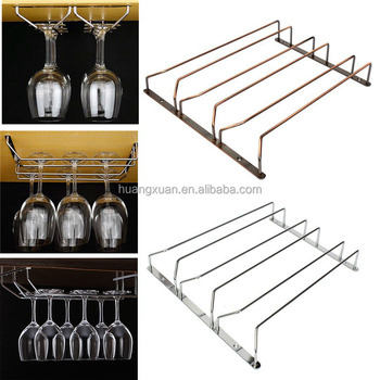 Under Cabinet Chrome Plate Wine Glass Hanging Rack Hold Up To 12