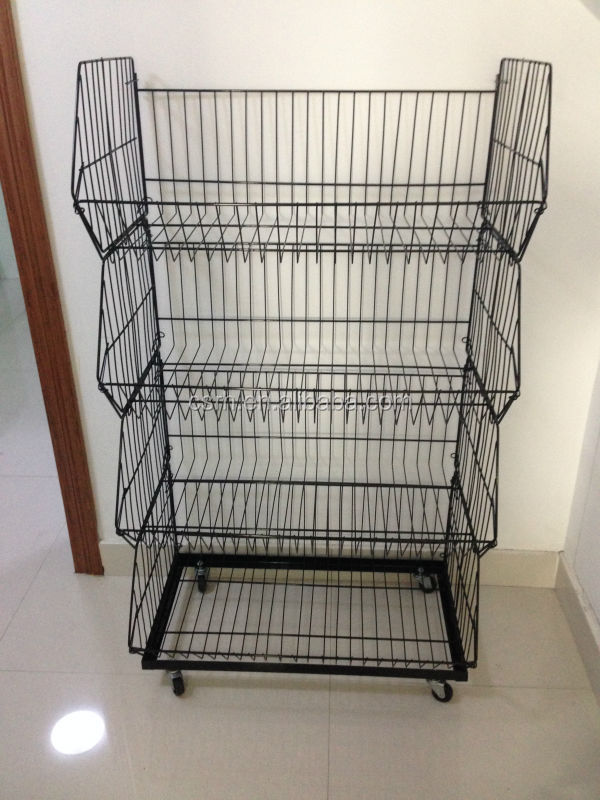 Steel Wire Stacking Basket With Wheels