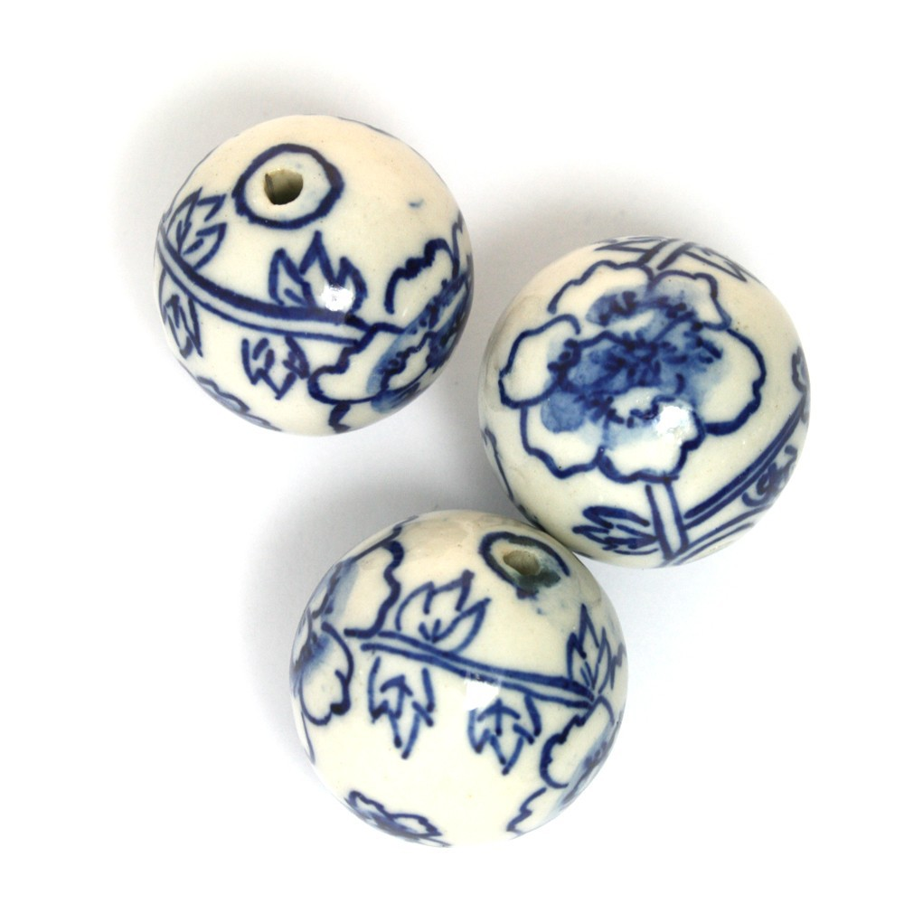 Wholesale 30pcs/lot Blue and White Porcelain Ceramic Beads 30mm for Carft DH-CH926