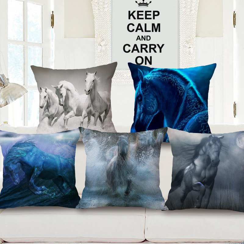 45cm 200g Wash Painting Horse Thick Type Fashion Cotton Linen Throw Pillow Hot Sale 18 Inch New Home Decor Sofa Back Cushion MQQ